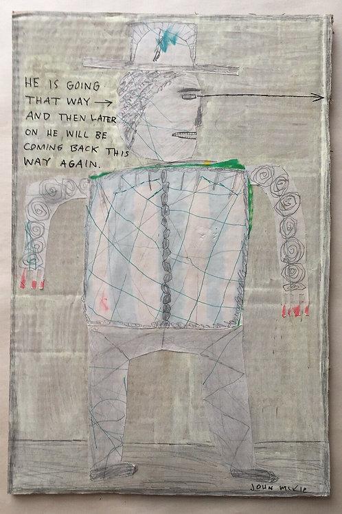 Original art drawing. John McKie 2019 Outsider art On Recycled Cardboard