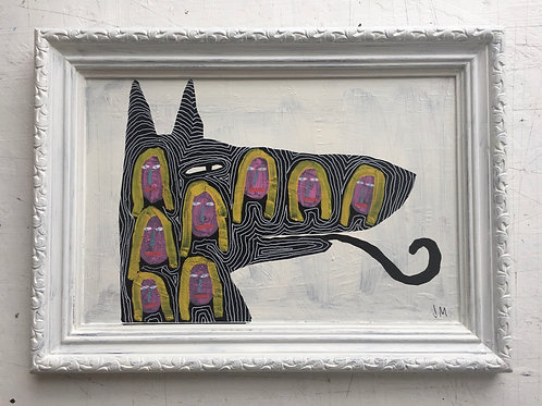 Dog With Girls Faces. 14.5 x 11 inches.