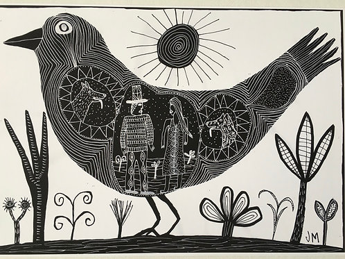 A3 Archival Print.Bird with couple.