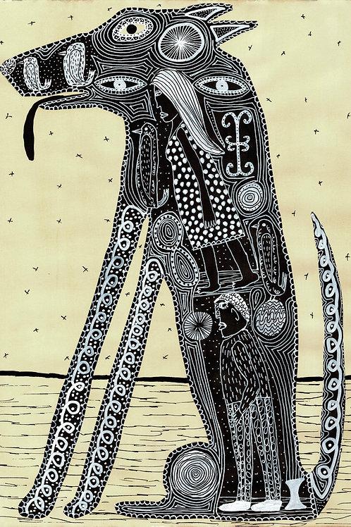 Dog.  A3 Giclee Print.