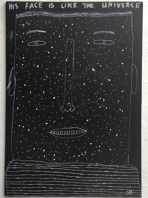 His Face Is Like The Universe. 15 x 10.6 inches.