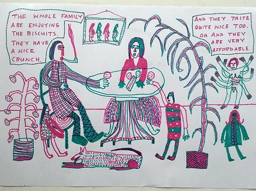 Original art drawing. John McKie 2019 Outsider Art. Marker pen drawing on paper.