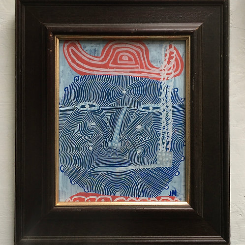Man With White Pipe. 14.5 x 12.7 inches with frame.