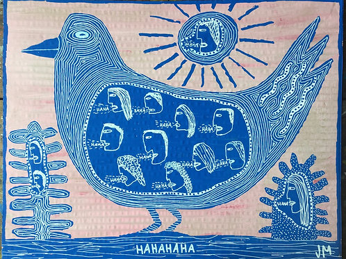 Bird And Laughing People. 15.5 x 12.2 inches.