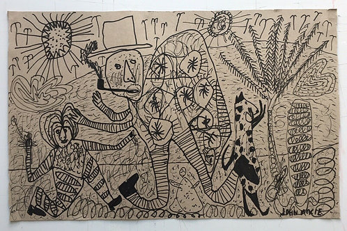 Original art drawing. John McKie 2019 Outsider Art. Oil marker drawing on paper.