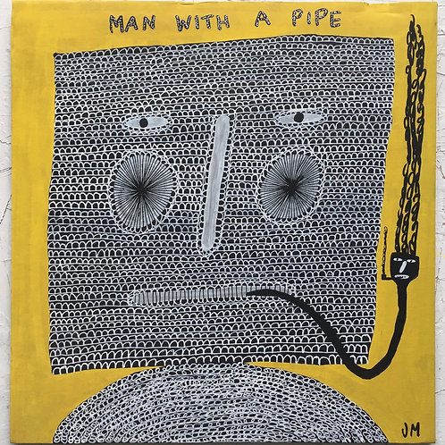 A man with a pipe. 11.75 x 11.5 inches.