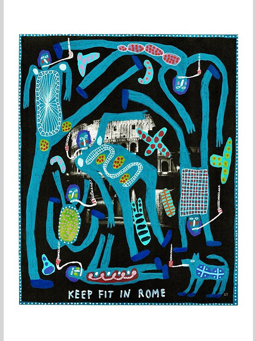 Keep Fit In Rome.  A3 Giclee Print.