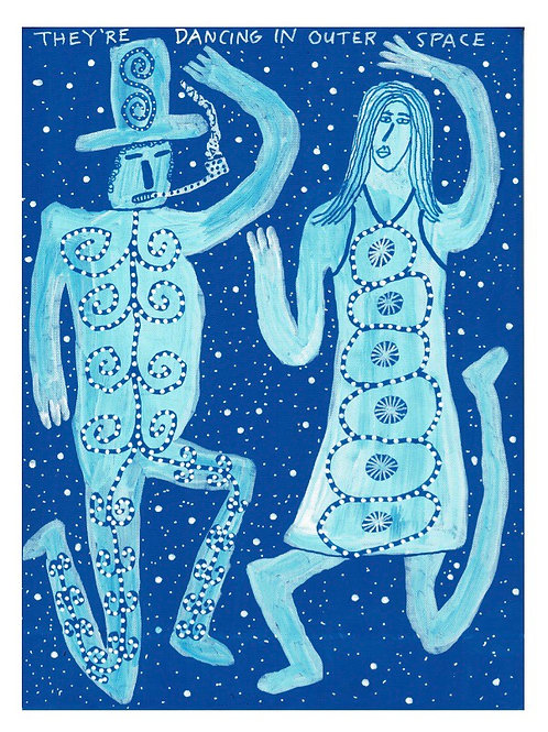 They're Dancing In Outer Space.  A3 Giclee Print.