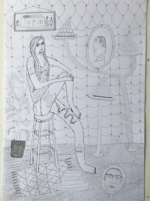 Original art drawing. John McKie 2019 Outsider Art.