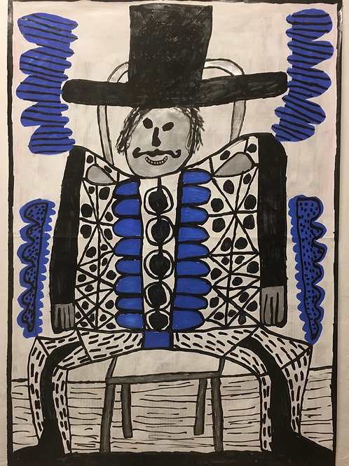 Man with a moustache sitting down. 25 x 17.5 inches.