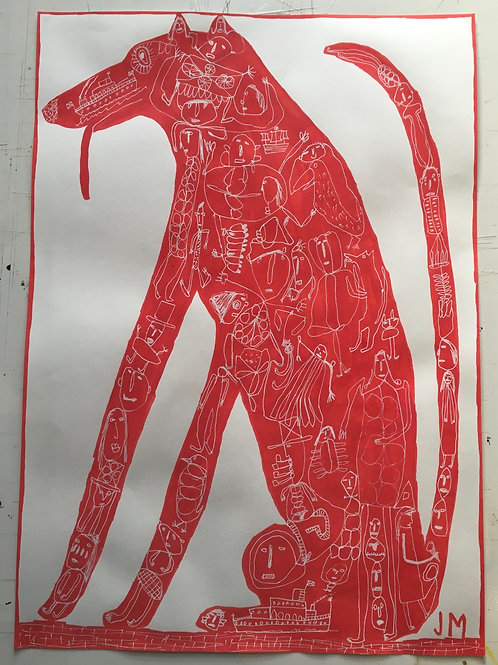 Dog. 23.5 x 16.5 inches.