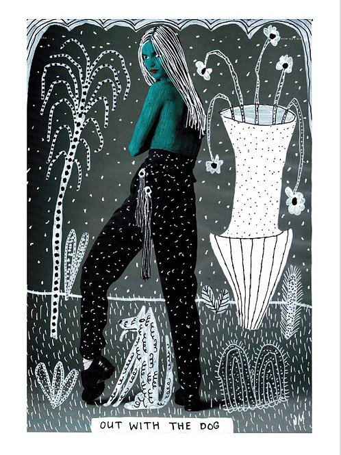 Out With The Dog.  A3 Giclee Print.