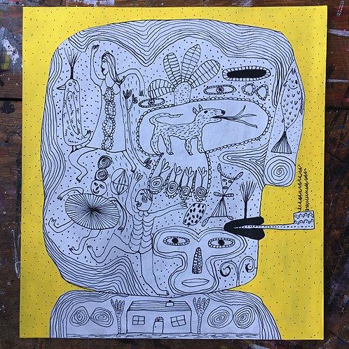 Man's Head. 12.25 x 11.25 inches.