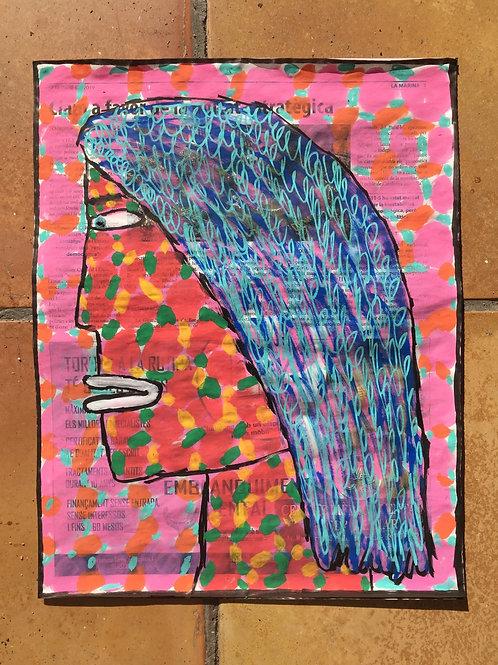 "Head of a lady.  14.5"" x 11.5""."