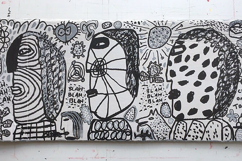 Original art drawing. John McKie 2019 Outsider art On Recycled Cardboard