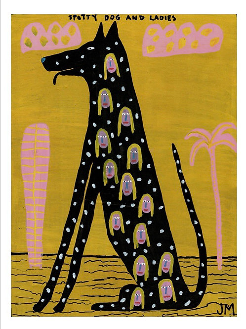Spotty Dog And Ladies.  A3 Giclee Print.