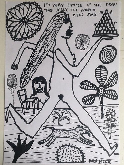 Original art drawing. John McKie 2019 Outsider Art. Oil pen drawing on paper.