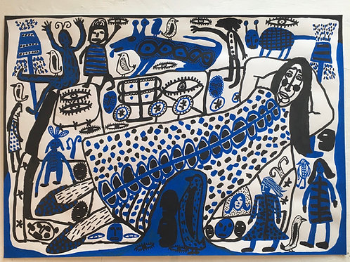On And Aroud The Sofa. 23.5 x 16.5 inches.