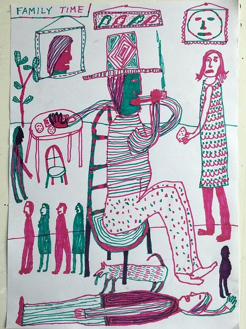 Original art drawing. John McKie 2019 Outsider Art