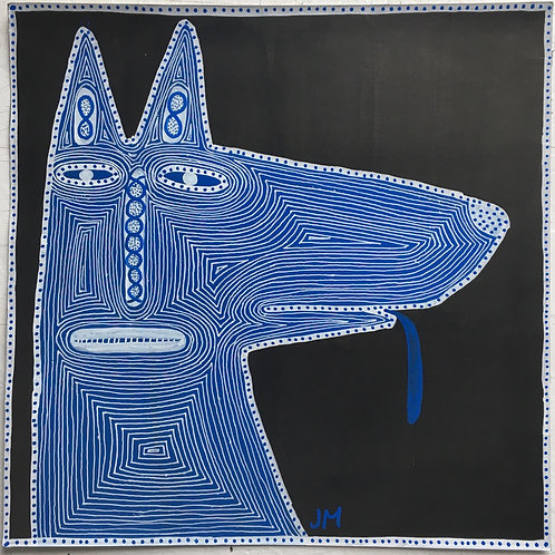 Blue Dog. 12 x 12 inches.