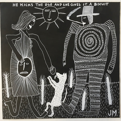 Don't Kick The Dog. 12 x 12 inches.
