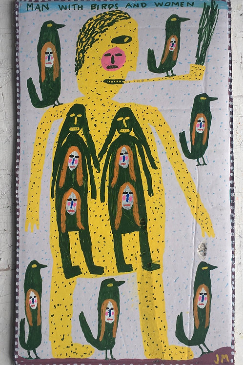 Man With Birds And Women. 18.5 x 11.8 inches.