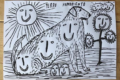 """Perro Hambriento.  16.5"""" x 11.75""""."""