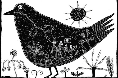Bird with family. A3 Archival Giclee Print.
