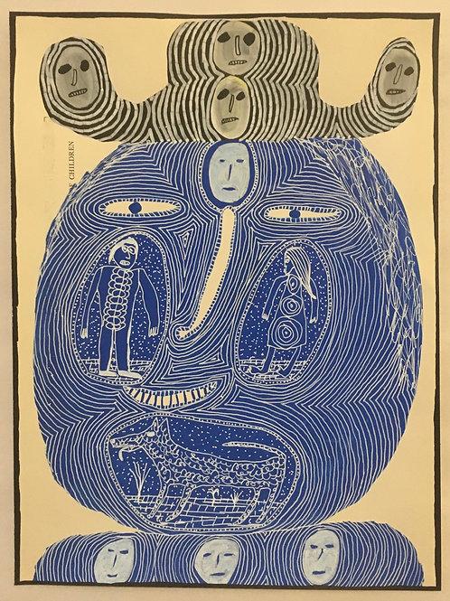 Man's Head. 14 x 10.5 inches.