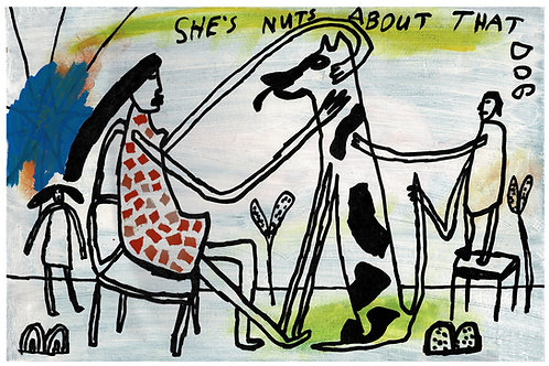 She's Nuts AboutThat Dog. A3 Giclee Print.