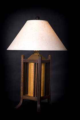 FOUR POSTER LAMP WALNUT
