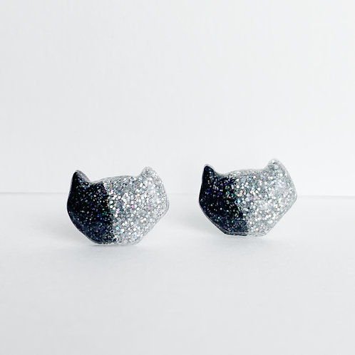 Black and silver Geo Cat Earrings