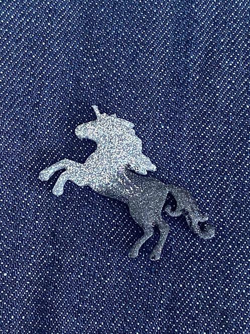 Silver and Black Resin Unicorn Pin