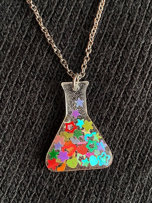 Resin Flask Necklace with Fun Glitter