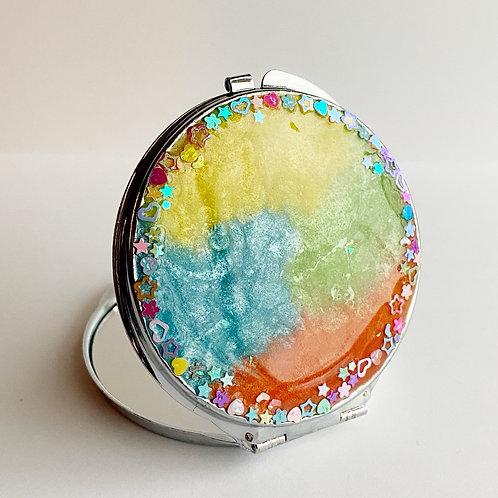 Colorful Compact Mirror with confetti glitter