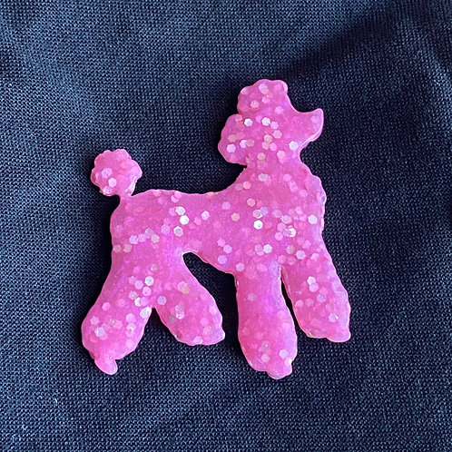 Resin Pink Poodle Pin
