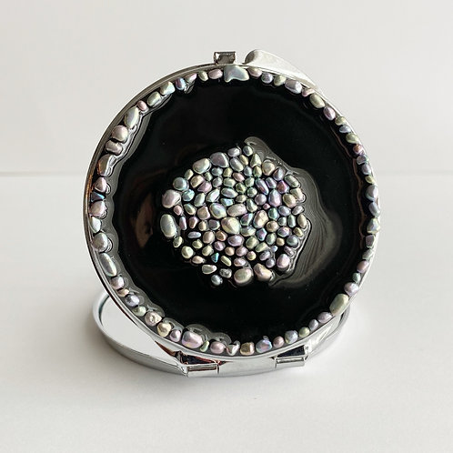 Black Resin and Stone Compact Mirror