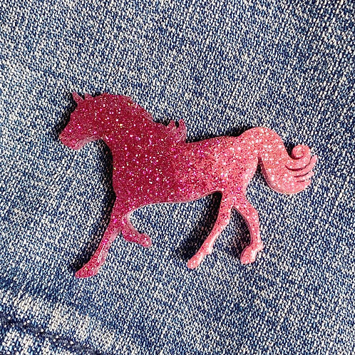 Ombré Pink Glitter Resin Horse Pin
