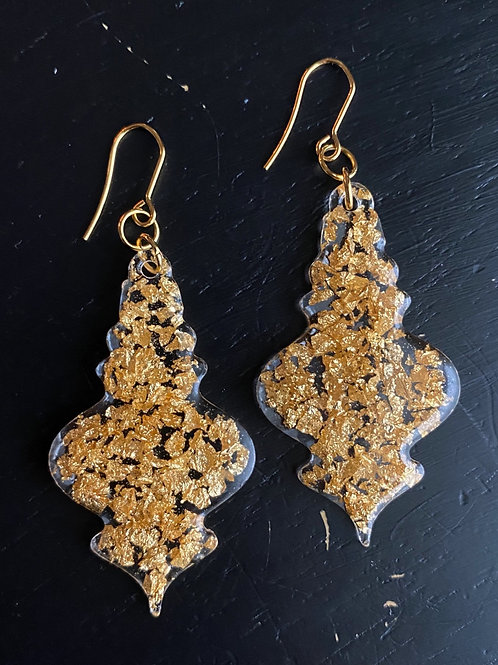 Gold Leaf and Resin Ornament Earrings