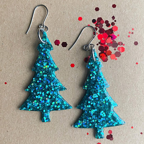 Green Glitter Resin Tree Earrings