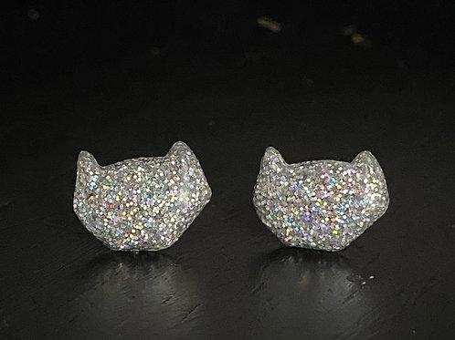 Holographic SilverResin Cat Head Earrings