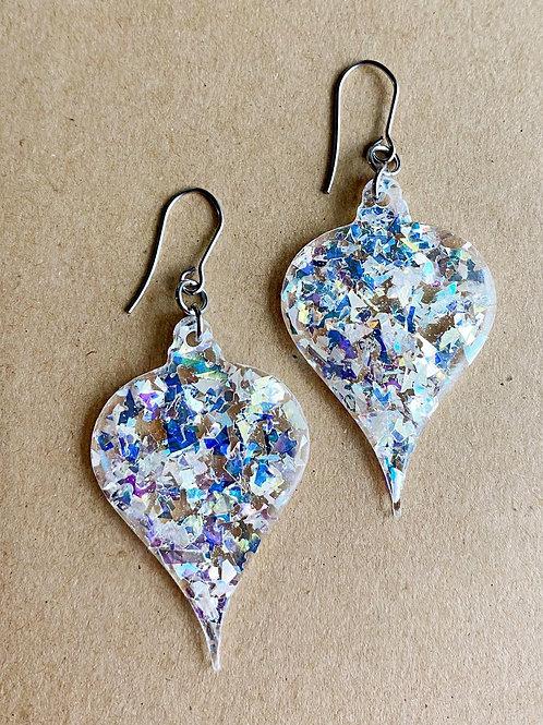 Silver Mirror  Ornament Earrings