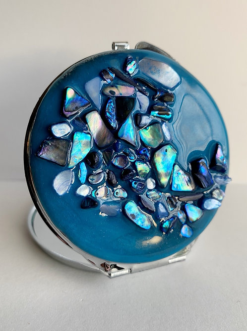 Blue on Blue Resin Compact Mirror