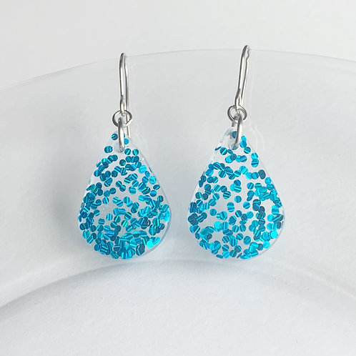 Flat Teardrop Dangle Earrings in blue glitter flakes