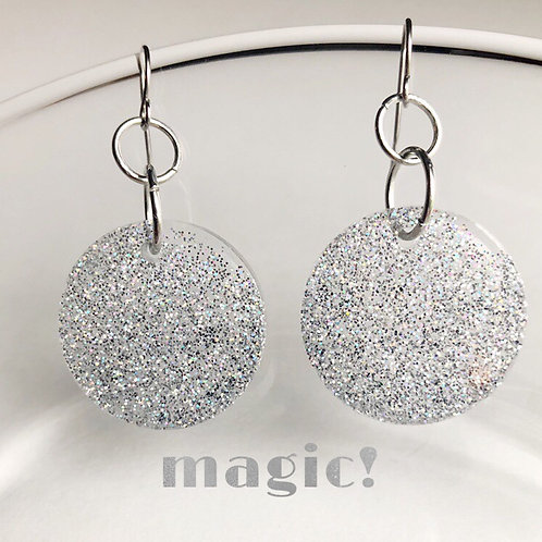 Magic! Silver Glitter Resin and stainless steel earrings