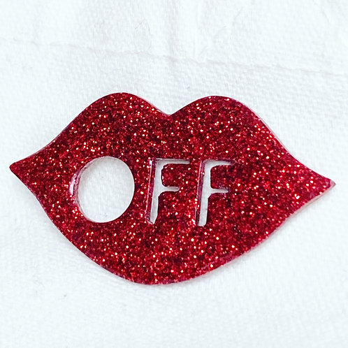 """Kiss Off"" Red Glitter Resin Pin"