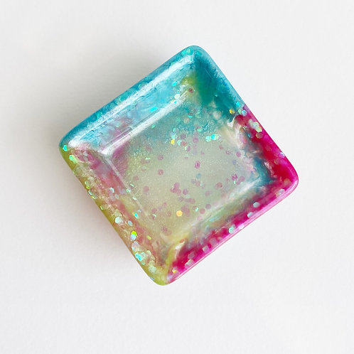 Pink Blue Yellow and clear Resin Trinket Dish