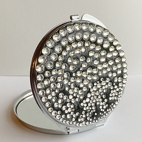 Black Resin and Rhinestone Compact  Mirror