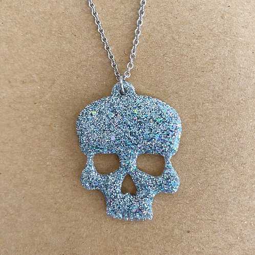 Silver Holographic Resin Skull Necklace