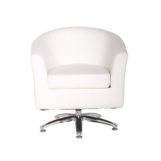 Camden Leather Swivel Tub Chair Armchair White